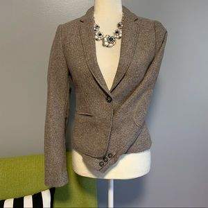 H&M Tan Tweed Blazer Jacket with Elbow Patches